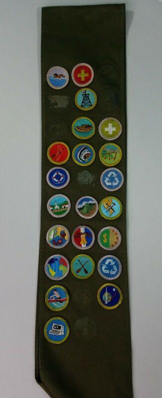Boy Scouts of America Vintage Merit Badge Insignia Sash Type E Khaki 1950 1960s