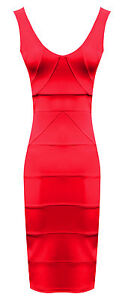 Womens Ladies Strappy Ribbed Bandage Panel Knee Length Bodycon Dress Sizes 8-14