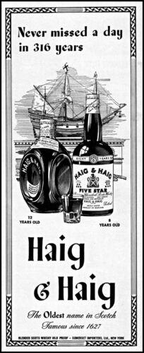 1943 sailing ship Haig & Haig scotch since 1627 vintage art print ad adL19