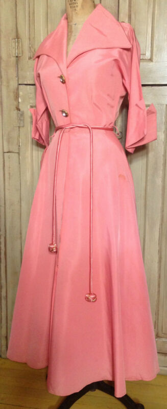 Vtg 50s 60s Marilyn New York Hostess Gown Salmon Pink Satin Taffeta Lucy B34 S