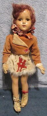 "1940's R & B Composition 17"" Skating Doll~Silhouette Fur Trim Skirt~Brown Eyes"