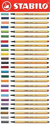 Stabilo Point 88 Fineliner Pens 25 COLOURS AVAILABLE, Packs of 3 or 10 Pens