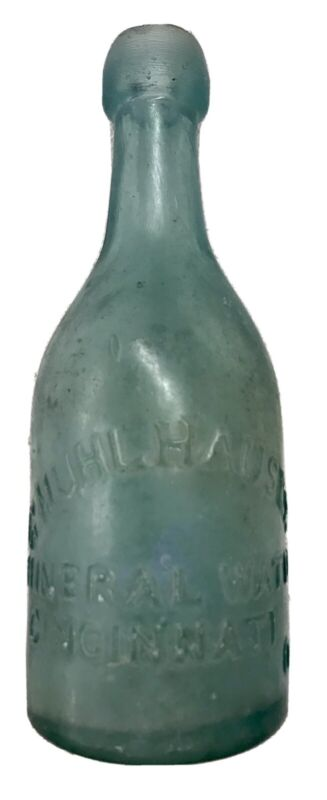 Antique Squat Soda Bottle G. MUHLHAUSER Mineral Water Cincinnati O OH Ohio Rare