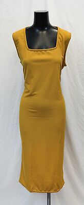 Boohoo Women's Plus Longline Square Neck Midi Dress DD5 Mustard US: 20 UK:24 NWT