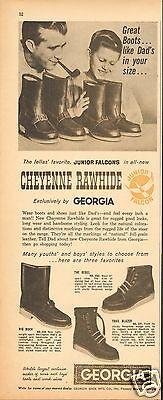 1961 Georgia Cheyenne Rawhide Junior Falcons Boot Magazine Ad