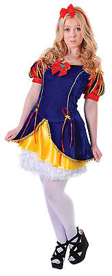 Ladies Snow White Disney Fancy Dress Costume Womens Flirty Party Outfit - Womens Snow White Kostüm