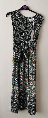 NEW Isa Arfen Tie Waist Silk maxi Dress Black/White/Multi UK 14