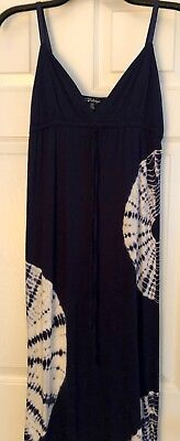 PJ SALVAGE Navy Blue Tie Dye V-neck Smooth Long Tank Maxi Dress S-P Small Petite