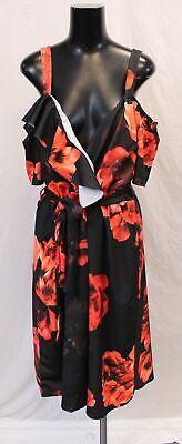 Boohoo Women's Plus Mono Floral Plunge Ruffle Midi Dress CK6 Black UK:22 US:18