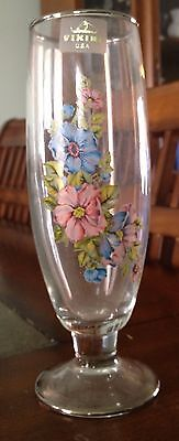 """Viking glass vase with floral design 7 1/2"""" tall"""