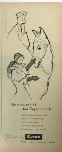 Kayser Gloves Fashion Horse Magazine Print Ad Vintage Woman Man Accessories 1947