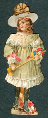 1894 GIRL w CROQUET Outfit & HAT Paper DOLL McLAUGHLIN Coffee VICTORIAN Die Cut