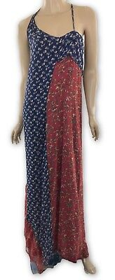 (R13 New Maxi Dress Print Silk Flowing Unfinished Hem Asymmetric Blue/Red Floral)