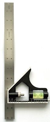 """Combination Set Square Steel Rule 12"""" 300mm with level and Engineers Scribe New"""