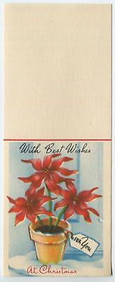 VINTAGE CHRISTMAS POINSETTIA RED FLOWERS POTTED PLANT DOLL HOUSE MINI CARD PRINT