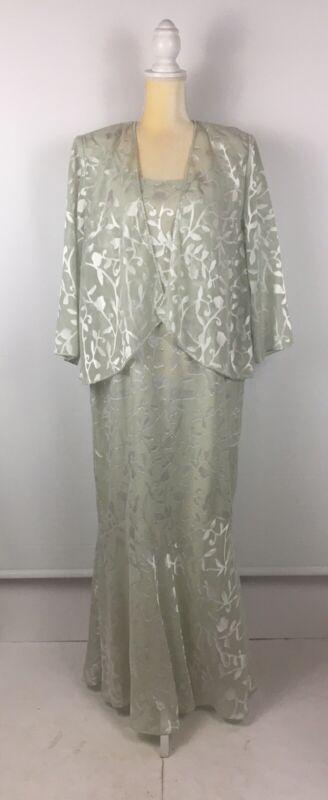 Karen Miller Womens 16W 2pc Sage Full Length Dress Jacket Mother-of-the-Bride