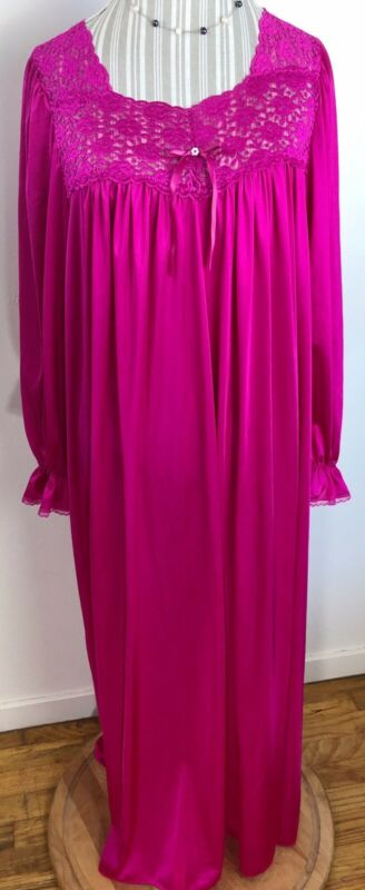 VTG VANITY FAIR Fuchsia Peignoir Nightgown XXL