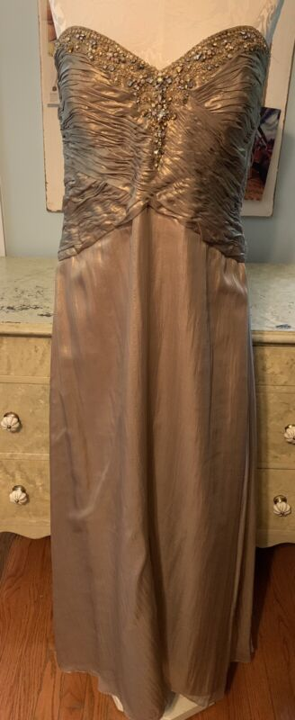 Montage Mon Cheri Gold Lame Strapless Beaded Gown-14