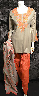 Sage Green Cotton Embroidered Tie Dye Pakistani Indian Shalwar Kameez S - M
