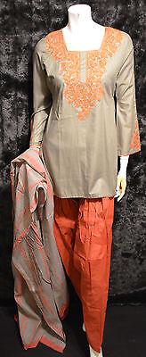 Sage Green Cotton Embroidered Tie Dye Pakistani Indian Shalwar Kameez S - M