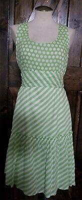 Anthropologie Snak Retro Pastel Green White Stripe Polka Dot Dress Sz 12 NWT $98