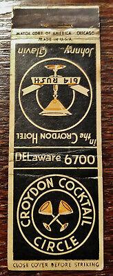 Vintage Matchcover: Croydon Hotel Cocktail Circle, Chicago, IL YY