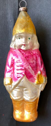 Antique Vintage Soldier Girl Sash Sword Glass German Figural Christmas Ornament