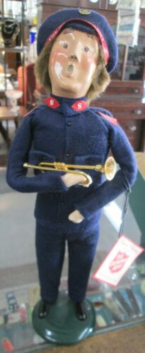 """Byers Choice The Carolers 1994 Salvation Army Man W-Trumpet & Tag 13 1/2"""" signed"""