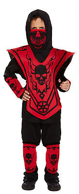 Boys Kids Childs Ninja Skeleton Halloween Fancy Dress Costume Age 4 - - Ninja Boy Child Kostüm