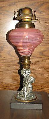 Rare Antique Latticino Boston Sandwich Glass Whale Oil Kerosene Lamp
