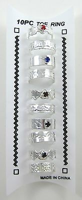 New 10 Piece Set of Silver Tone Metal Toe Rings #R1173