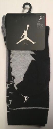 2 Pairs Nike JumpMan Air Jordan crew Socks $14 Size 5Y-7y Youth Black Grey