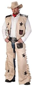 cowboy adult men costume fringe chaps hat western vest with stars scarf rodeo
