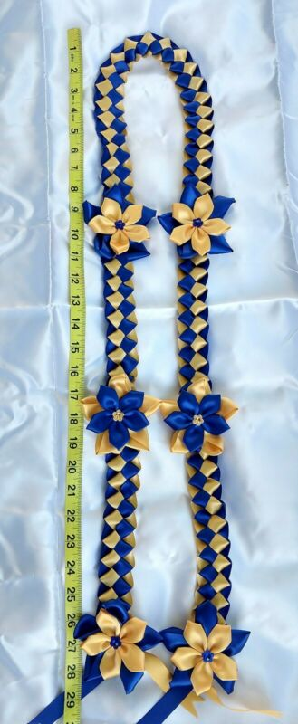 Graduation lei, handmade with 2 color of satin ribbons in royal Blue and Gold