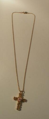 Vintage Gold Tone Avon Cross Pendant Necklace With Pink Flower Design