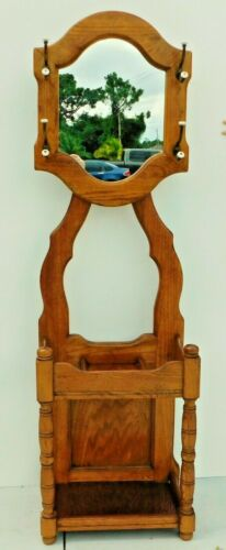 Beautiful Antique/Vtg Oak Wood Hall Tree Mirror Umbrella Stand Coat Hat Rack