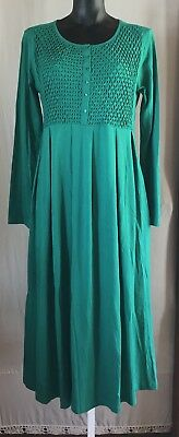 NEW! Green Cotton Jersey Dress Smocked Beaded Pleated Inseam Pockets The Paragon