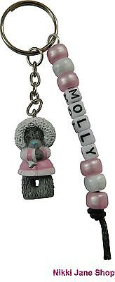 Me To You Personalised Name Keyring Tatty Teddy Bear - Charm Pink Coat