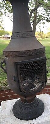 Blue Rooster Burning Venetian Chiminea  Fireplace, Cover,Wood Stand And Wood