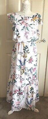 Ladies Joe Fresh Retro Floral Print Maxi Dress Size L Winter Sun Cruise Smart