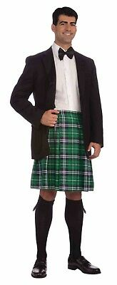 Adult Gentleman's Kilt Irish Scottish Green Plaid St. Patrick's Day Costume