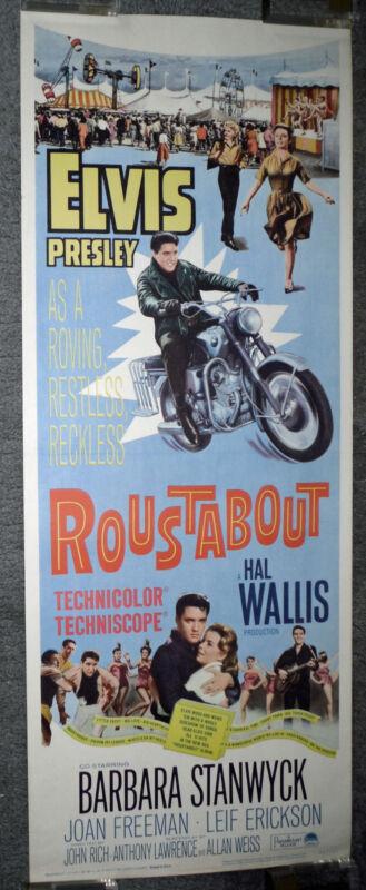 ROUSTABOUT orig 1964 movie poster ELVIS PRESLEY/HONDA 305 SUPERHAWK MOTORCYCLE