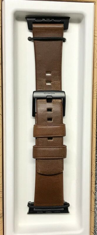 Nomad - Leather Watch Strap for Apple Watch 42mm/44mm - Brown with black lugs