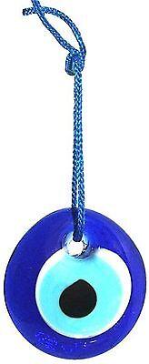 "Evil Eye Protection Good Luck Charm Wall Hanging, car pendant 1.5"" Diameter Blue"