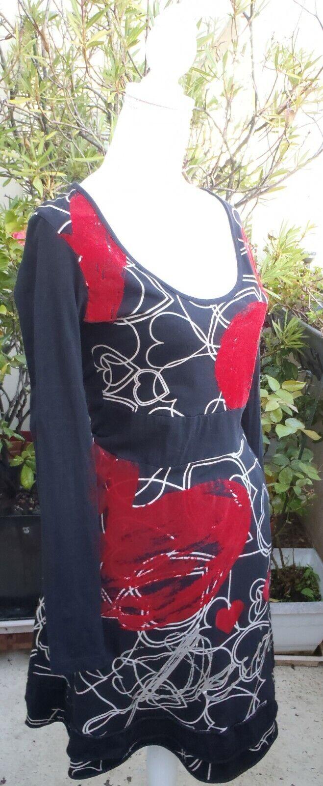 Robe desigual noire rouge beige et argent t. l (40) impeccable