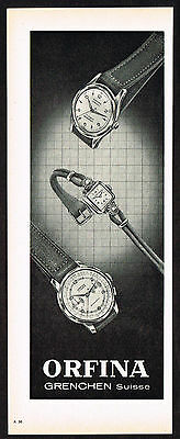 1950's Vintage 1953 Orfina Watch Co. Watches - Paper Print AD