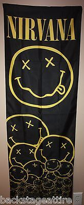 Nirvana Kurt Cobain Smiley Happy Face Cloth Fabric Door Poster Flag Banner-New