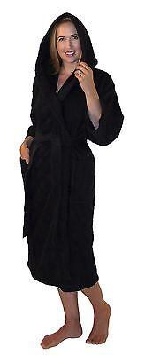 Hooded Bathrobe Turkish Cotton Terry Calf Length 3/4 Sleeve Mens Womens Spa Robe ()