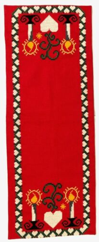 Christmas Table Runner Cross Stitch Handmade Embroidery Red w/ Candles & Hearts