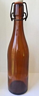 Vintage Amber Glass Bottle w/Ceramic Rubber Wire Stopper Top